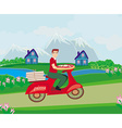 Pizza delivery man on a motorcycle vector