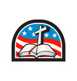 Bible and cross stars and stripes flag retro vector