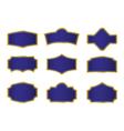 Dark blue vine labels with gold frame vector