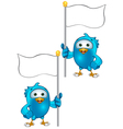 Blue bird holding a flag vector
