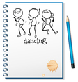 A notebook with a sketch of three people dancing vector