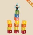 Cartoon businessman stand on success block - vector