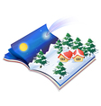 A book with a drawing of a snowy night vector