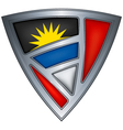 Steel shield with flag antigua and barbuda vector