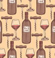 Sketch wine set in vintage style vector