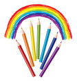 Set of colored pencils and rainbow vector