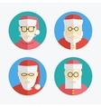 Santa claus avatar flat icons collection vector
