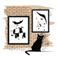 The girls portrait on a wall vector
