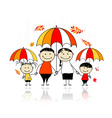 Autumn season family with umbrellas vector
