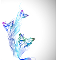 Colorful background with watercolor butterfly and vector