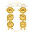 Set of blank round polished gold metal badges vector