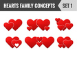 Hearts family concepts set 1 vector