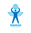 Traveler - human with wings and globe vector