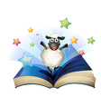 Happy sheep book vector