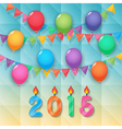 Happy new year candles balloon and party flags sky vector
