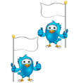 Blue bird thumbs up holding flag vector