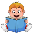 A cartoon boy reading a book vector