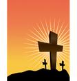 Christian crosses at sunrise easter theme vector