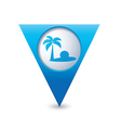 Beach icon on map pointer blue vector