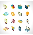 Marketing icons isometric vector