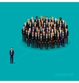 Flat of a leader and a team a crowd of men vector
