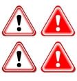 Red exclamation sign danger signs isolated vector
