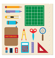 School stationery supplies vector