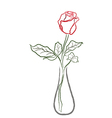 Stylized red rose in a vase vector