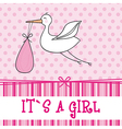 Its a girl with stork  baby shower vector
