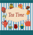 Vintage background of tea time - vector