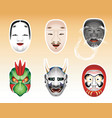 Japanese theatre masks vector