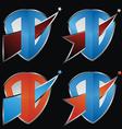 Comet shield icon set vector