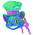 Cheshire cat in top hat vector
