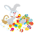 Easter bunny painter vector
