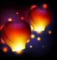 Heart shaped sky lanterns vector