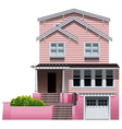A beautiful pink house vector