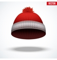 Knitted woolen red cap winter seasonal blue hat vector