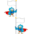 Super blue bird holding flag vector
