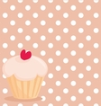 Cupcake on white polka dots pink background vector
