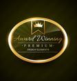 Beautiful award winner golden label badge vector
