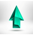 3d green up arrow sign with light background vector