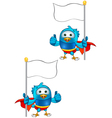 Super blue bird holding flag giving a thumbs up vector