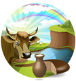 Cow with milk and bread vector