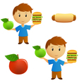Young men with food vector