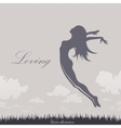 Girl jumping in the sky vector