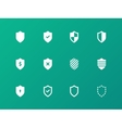 Shield icons on green background vector
