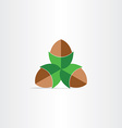 Hazelnuts flat icon design vector