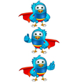Super blue birds set 1 vector