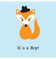 Baby boy fox arrival announcement birth card vector