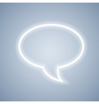 Glowing chat bubble symbol on light grey vector